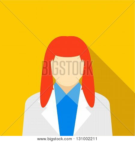 Woman with red hair icon in flat style on a yellow background