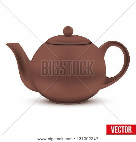 Brown ceramic teapot. Vector illustration. Isolated of background.