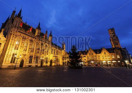 Bruges City Hall on Burg Square. Bruges Flemish Region Belgium