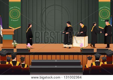 A vector illustration of graduation girl at podium