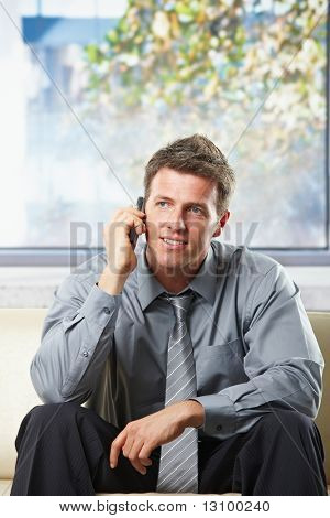 Happy professional businessman getting good news on mobile phone smiling on a sunlit sofa.