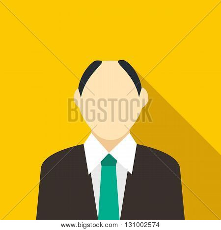 Male with a receding hairline in black suit with green tie icon in flat style on a yellow background