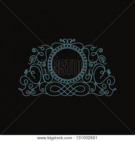 Calligraphic Luxury line logo template. Flourishes calligraphic elegant emblem. Royal logo design. logo decor for menu card invitation label, Restaurant, Cafe, Hotel. Vintage vector line symbol