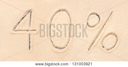 40 % Lettering Written On Sand