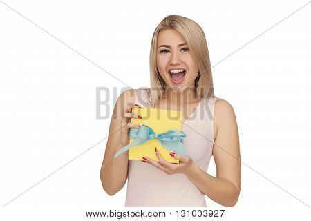 Young woman portrait wondering to receive gift