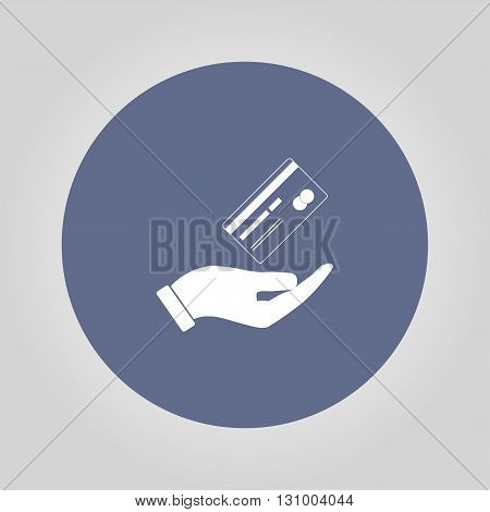 Bank credit card with hand vector illustration. Flat design style.