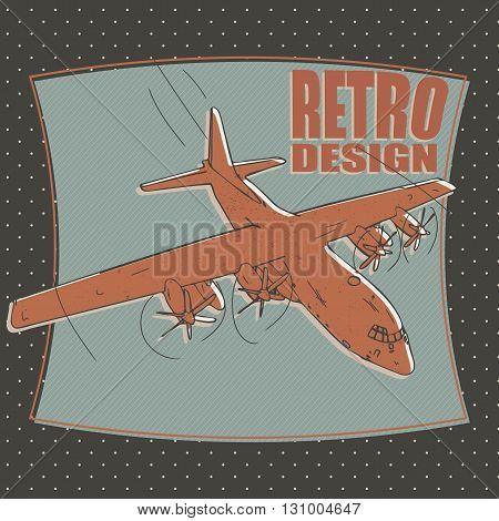 military plane or airplane bomber - retro style