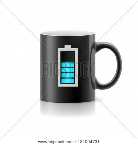 Balck cup with drawn indicator stay on white background