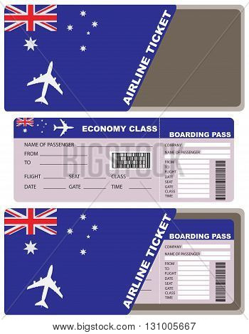 Plane ticket first class in Australia. Vector illustration.