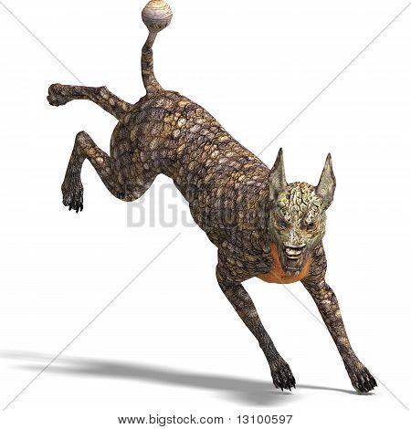 cão alienígena perigosa com pele de lagarto