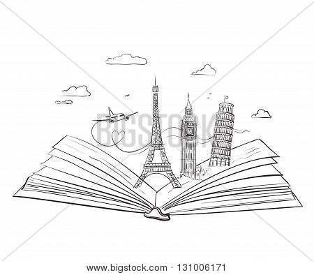 Hand drawn tourist collage with sights of Europe in open book. Vector Illustration