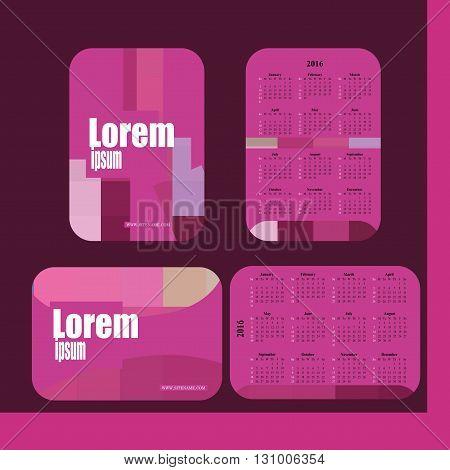 Stylish vector pocket calendar 2016 - pink colour