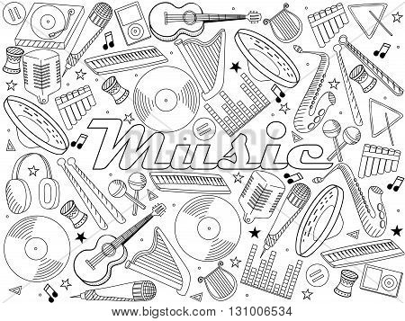 Vector line art Doodle set of cartoon characters and objects music instruments. Coloring book
