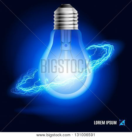 Lamp surrounded by a stream of blue energy in the space