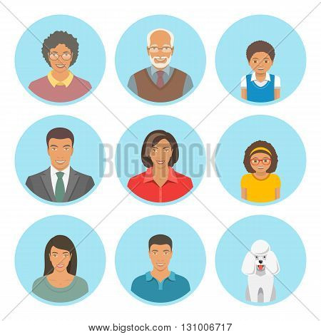 African American family faces flat vector avatars set. Icons of three family generations mother and father sons and daughters grandmother grandfather and a dog. Black family portraits