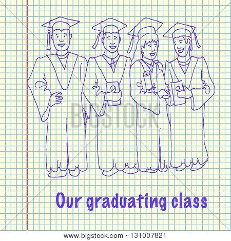 Students Graduation Celebration. hand drawn vector stock illustration. Happiness Concept
