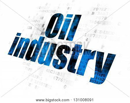 Manufacuring concept: Pixelated blue text Oil Industry on Digital background