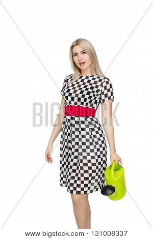 Happy Woman watering something Isolated On White Background