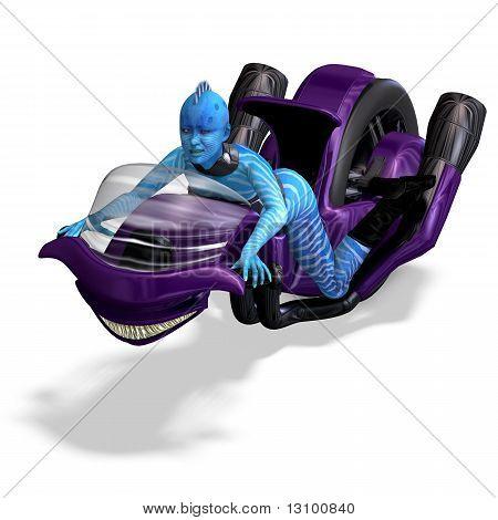 blue alien on a futuristic bike