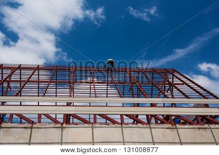 Worker Climb To Iron Roof Top