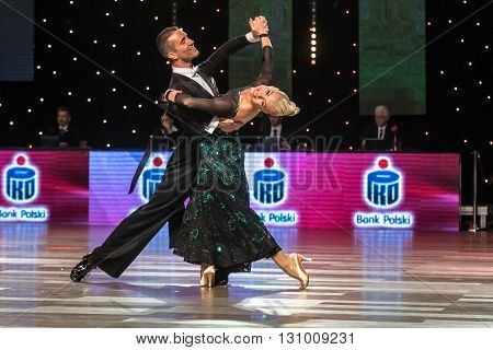 Wroclaw Poland - May 14 2016: Bjorn Bitsch and Ashli Williamson in dance pose during World Dance Sport Federation European Championship Standard Dance on May 14 in Wroclaw Poland