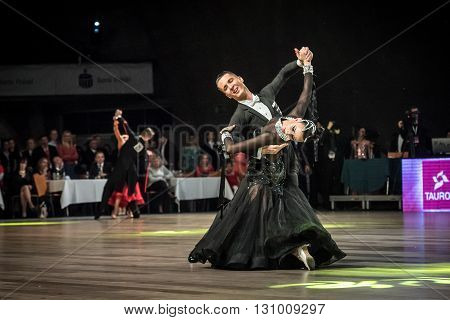 Wroclaw Poland - May 14 2016: An unidentified dance couple in dance pose during World Dance Sport Federation European Championship Standard Dance on May 14 in Wroclaw Poland