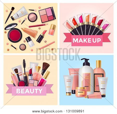 Beauty cosmetics and makeup set, flat design illustration , vector template