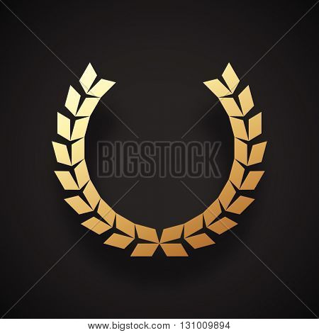 Laurel wreath geometric icon made of diamond shapes. Realistic gold paint style on laurel wreath icon.