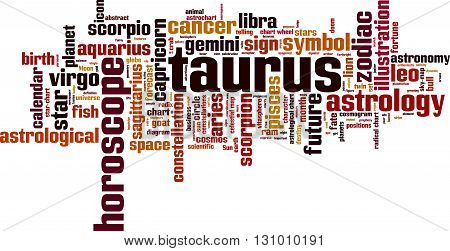 Taurus word cloud concept. Vector illustration on white