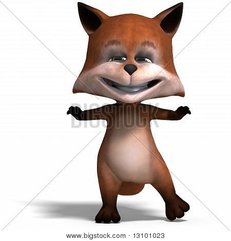 the cute cartoon fox is very smart and clever