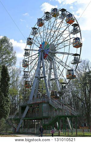 KRASNOGORSK, RUSSIA - APRIL 30, 2016: Ferris Wheel in the city park in Krasnogorsk