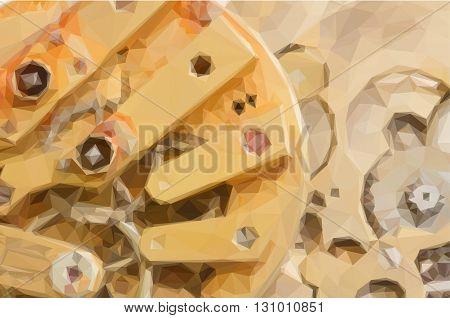 Low poly illustration background of clockwork of metal brass vintage pocket clock