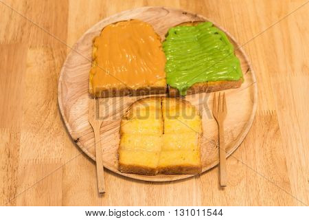 Bread Toast With Butter, Condensed Milk, Egg Custard