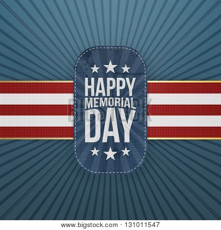 Happy Memorial Day patriotic Badge and Ribbon. National American Holiday Background Template. Vector Illustration.