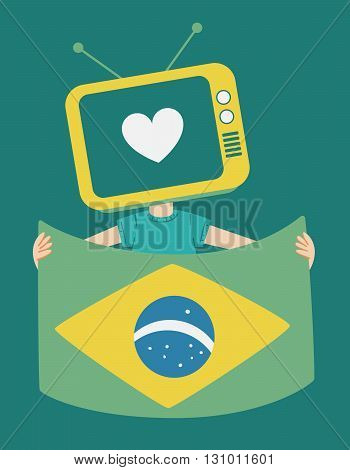 Cartoon Television Holding A Brazilian Flag