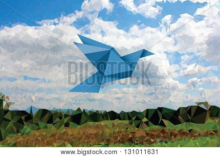 vector illustration with blue paper bird in sky with landscape, low poly