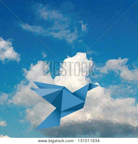 vector illustration of blue paper bird in cloudy paper sky