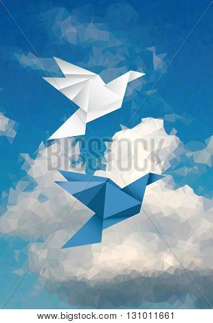 vector abstract background with two paper birds in cloudy sky