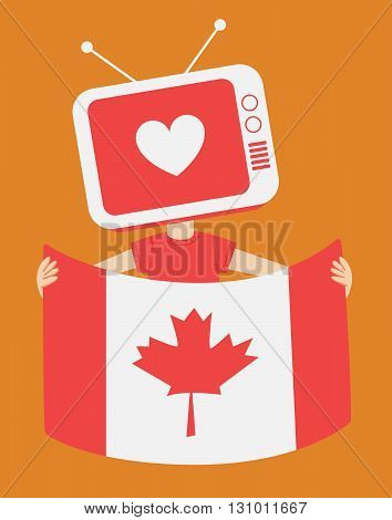 Cartoon Television Holding A Canadian Flag