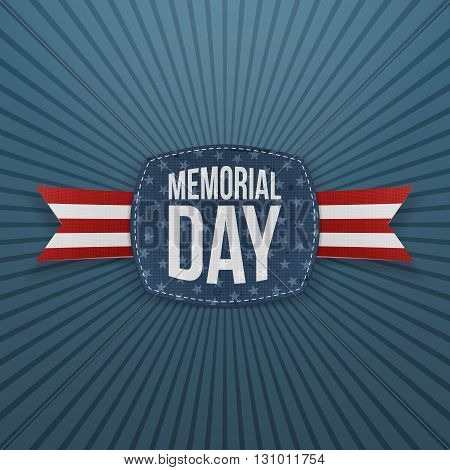 Memorial Day patriotic Emblem and Ribbon. National American Holiday Background Template. Vector Illustration.
