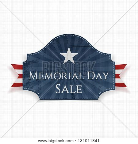 Memorial Day Sale patriotic Poster and Ribbon. National American Holiday Background Template. Vector Illustration.