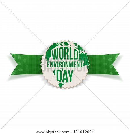 World Environment Day Banner and Ribbon. Ecology Background Template. Vector Illustration.