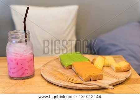 Sweet Bread Toast And Cold Ice Pink Milk