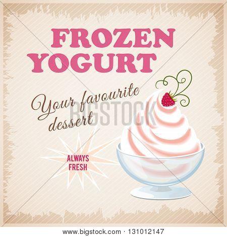Vector illustration banner with strawberry frozen yogurt on the vintage background. eps10