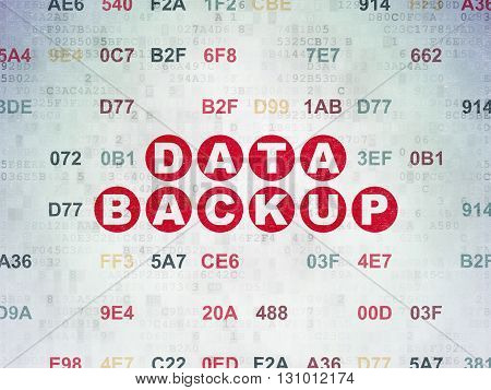Data concept: Painted red text Data Backup on Digital Data Paper background with Hexadecimal Code