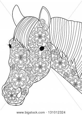 Head horse coloring book for adults vector illustration. Anti-stress coloring for adult. Nag zentangle style. Black and white lines. Lace pattern