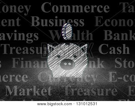 Money concept: Glowing Money Box With Coin icon in grunge dark room with Dirty Floor, black background with  Tag Cloud