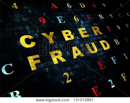 Safety concept: Pixelated yellow text Cyber Fraud on Digital wall background with Hexadecimal Code