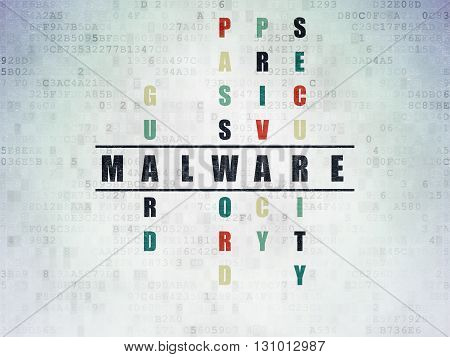 Privacy concept: Painted black word Malware in solving Crossword Puzzle on Digital Data Paper background