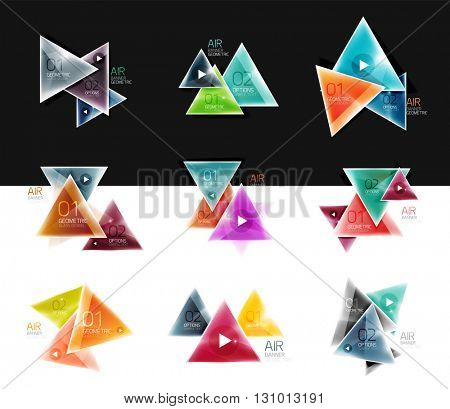 Collection of triangle web boxes - banners, business backgrounds, presentations. Vector illustration